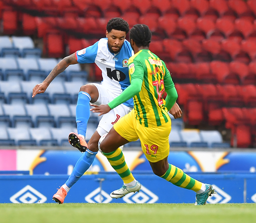 Blackburn Rovers' Dominic Samuel battles with West Bromwich Albion's Romaine Sawyers<br /> <br /> Photographer Dave Howarth/CameraSport<br /> <br /> The EFL Sky Bet Championship - Blackburn Rovers v West Bromwich Albion - Saturday 11th July 2020 - Ewood Park - Blackburn <br /> <br /> World Copyright © 2020 CameraSport. All rights reserved. 43 Linden Ave. Countesthorpe. Leicester. England. LE8 5PG - Tel: +44 (0) 116 277 4147 - admin@camerasport.com - www.camerasport.com