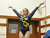 Gillian Murphy of Massapequa turns to the judge after her second vault in a Nassau County varsity gymnastics meet against Bethpage at Jamaica Avenue School in Plainview on Wednesday, Dec. 21, 2016. She scored a 9.20 and won the all-around with a 36.35.