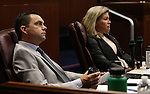 Nevada Senate Republicans Jesse Haw and Patricia Farley work on the Senate floor during a special session at the Nevada Legislature in Carson City, Nev. on Tuesday, Oct. 11, 2016. <br /> Photo by Cathleen Allison