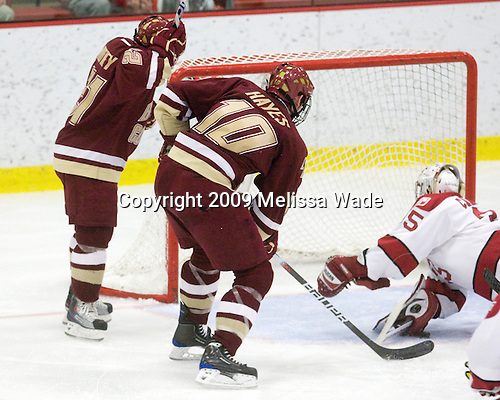 Steven Whitney (BC - 21), Jimmy Hayes (BC - 10), Ryan Carroll (Harvard - 35) - The Boston College Eagles defeated the Harvard University Crimson 3-2 on Wednesday, December 9, 2009, at Bright Hockey Center in Cambridge, Massachusetts.