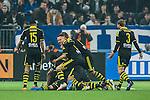 Stockholm 2014-04-16 Fotboll Allsvenskan Djurg&aring;rdens IF - AIK :  <br /> Jublande AIK spelare ligger p&aring; h&ouml;g ovanp&aring; AIK:s Eero Markkanen efter 3-0 m&aring;let <br /> (Foto: Kenta J&ouml;nsson) Nyckelord:  Djurg&aring;rden DIF Tele2 Arena AIK jubel gl&auml;dje lycka glad happy