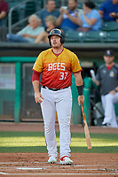 Justin Bour (37) of the Salt Lake Bees at bat against the Oklahoma City Dodgers at Smith's Ballpark on August 1, 2019 in Salt Lake City, Utah. The Bees defeated the Dodgers 14-4. (Stephen Smith/Four Seam Images)