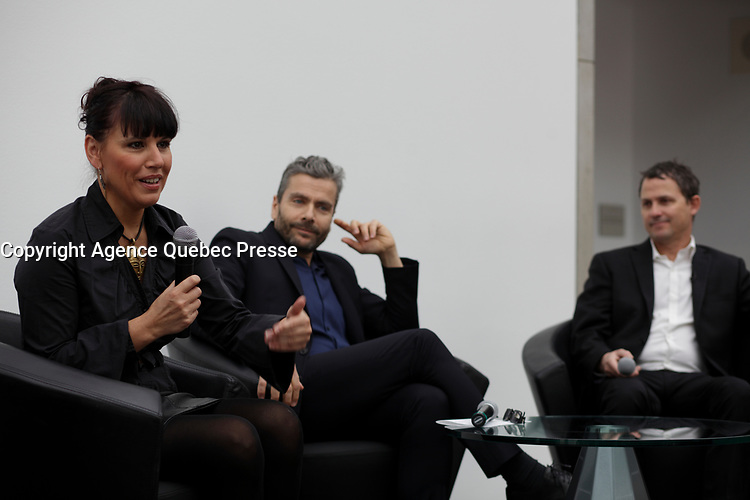 April 19, 2014 - Nathalie Bondil, Director and Curator, Museum of Fine Arts, Montreal (L), John Zeppetelli General Mangaer and Curaror, Museum of Contemporary Arts (M), Montreal and Stephane Aquin, Curator - Contemporary Arts at Museum of Fine Arts, Montreal present 1+ 1 = 1 ; a joint exhibit between the 2 Museums<br /> <br /> <br /> DE Gauche a Droite : Nathalie Bondil, directrice et conservatrice en chef du MBAM , John Zeppetelli, directeur general et conservateur en chef du MAC (M) et Stephane Aquin, conservateur de l'art contemporain au MBAM peésente une exposition mettant en scène un croisement entre les collections d'art contemporain des deux institutions : 1 + 1 = 1. Quand les collections du Musee des beaux-arts et du Musee d'art contemporain de Montreal conversent.<br /> <br /> PHOTO :  Agence Quebec Presse