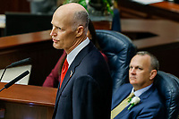 TALLAHASSEE, FLA. 3/7/17-Gov. Rick Scott gives the State of the State address as House Speaker Richard Corcoran, R-Land O'Lakes, listens during opening day of the 2017 legislative session at the Capitol in Tallahassee.<br /> <br /> COLIN HACKLEY PHOTO