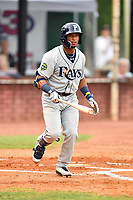 Princeton Rays shortstop Wander Franco (6) during game two of the Appalachian League Championship Series against the Elizabethton Twins at Joe O'Brien Field on September 5, 2018 in Elizabethton, Tennessee. The Twins defeated the Rays 2-1 to win the Appalachian League Championship. (Tony Farlow/Four Seam Images)