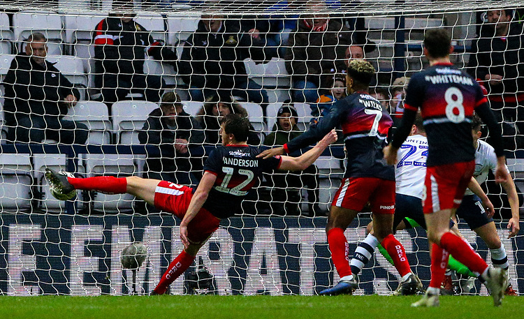 Doncaster Rovers' Tom Anderson scores his side's second goal <br /> <br /> Photographer Alex Dodd/CameraSport<br /> <br /> The Emirates FA Cup Third Round - Preston North End v Doncaster Rovers - Sunday 6th January 2019 - Deepdale Stadium - Preston<br />  <br /> World Copyright © 2019 CameraSport. All rights reserved. 43 Linden Ave. Countesthorpe. Leicester. England. LE8 5PG - Tel: +44 (0) 116 277 4147 - admin@camerasport.com - www.camerasport.com