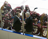 BC timeout - Mike Cavanaugh (BC - Associate Head Coach), Jerry York (BC - Head Coach) - The Merrimack College Warriors defeated the Boston College Eagles 5-3 on Sunday, November 1, 2009, at Lawler Arena in North Andover, Massachusetts splitting the weekend series.