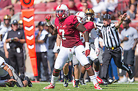 STANFORD, CA - SEPTEMBER 13, 2014:  Aziz Shittu during Stanford's game against Army. The Cardinal defeated the Black Knights 35-0.
