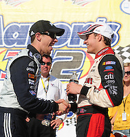 Apr 25, 2009; Talladega, AL, USA; NASCAR Nationwide Series driver Brad Keselowski (left) congratulates David Ragan after winning the Aarons 312 at the Talladega Superspeedway. Mandatory Credit: Mark J. Rebilas-