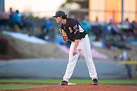 Salem-Keizer Volcanoes starting pitcher Seth Corry (28) looks in for the sign during a Northwest League game against the Eugene Emeralds at Volcanoes Stadium on August 31, 2018 in Keizer, Oregon. The Eugene Emeralds defeated the Salem-Keizer Volcanoes by a score of 7-3. (Zachary Lucy/Four Seam Images)
