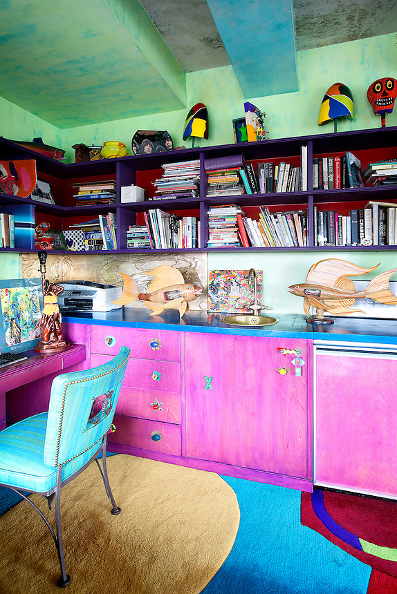 pink wooden cupboards
