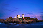 Yet another beautiful New England sunset at the Nubble Lighthouse, Cape Neddick, Maine, USA