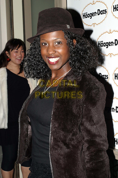 MICHELLE GAYLE.Haagen Dazs party to celebrate new ice-cream flavours - Haagen Dazs Lounge, Leicester Square.trilby hat.www.capitalpictures.com.sales@capitalpictures.com.© Capital Pictures.