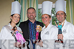 Daithi O'Sé with the Celebrity Chef's  l-r: Gemma Kavanagh Kerry Rose, Mark Daly Senator and Irish Rugby heroine Siobhain Fleming and their trophies in the Plaza Hotel on Thursday night