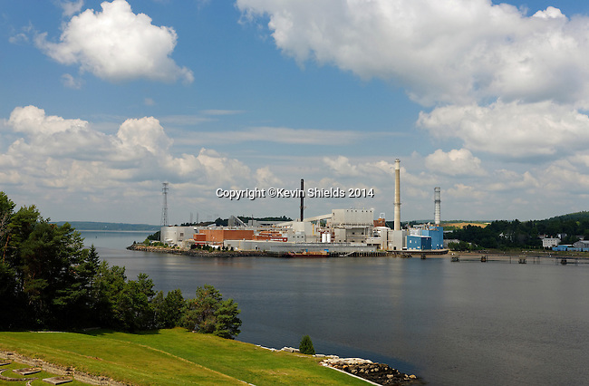 View of the former Verso Paper mill, now demolished, from Fort Knox State Park, Maine, USA