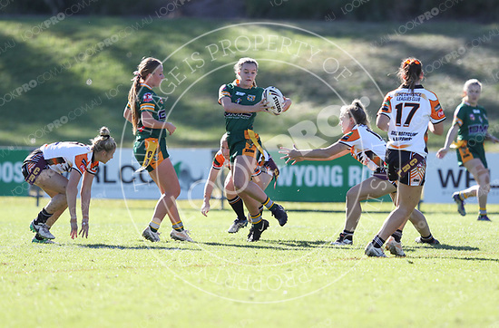 The Wyong Roos play The Entrance Tigers in Round 5 of the Ladies League Tag Central Coast Rugby League Division at Morry Breen Oval on 6 May, 2018 in Kanwal, NSW Australia. (Photo by Paul Barkley/LookPro)
