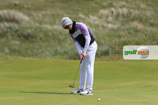 Gisli Sveinbergsson (ICE) on the 4th green during Round 1 of the The Amateur Championship 2019 at The Island Golf Club, Co. Dublin on Monday 17th June 2019.<br /> Picture:  Thos Caffrey / Golffile<br /> <br /> All photo usage must carry mandatory copyright credit (© Golffile | Thos Caffrey)