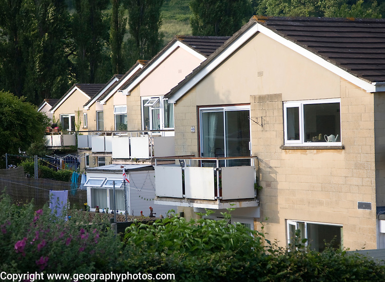 Suburban terraced housing dating from 1970s, Bath, Somerset, England