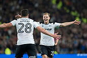 8th September 2017, Pride Park Stadium, Derby, England; EFL Championship football, Derby County versus Hull City; Matej Vydra of Derby County celebrates running to David Nugent of Derby County after scoring in the 34th minute (2-0)