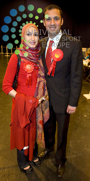 Anas Sarward candidate for the safe Labour seat of Glasgow Central(Son of Mohammad Sarwar) with wife during the general election count at the Scottish Exhibition Centre (SECC), Glasgow..6 May 2010 Picture: Maurice McDonald/Universal News And Sport (Europe)... .