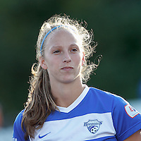 Boston Breakers defender Julie King (8). In a National Women's Soccer League (NWSL) match, Boston Breakers (blue) defeated Portland Thorns FC (white/black), 2-1, at Dilboy Stadium on August 7, 2013.