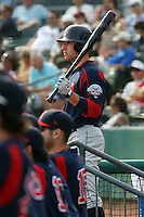 Right fielder Ryan Kalish of the Salem Red Sox on the steps of the dug during a game against  the Myrtle Beach Pelicans on May 3, 2009