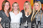 FRIENDS: Enjoying the evening at Sean Ogs Bar Christmas Staff party in The Ballyroe Heights Hotel, Tralee, on Friday evening were Joanne McDonald, Marian Park, Rachel Brown, Listowel, Rachel Doyle, Listowel, and Sarah Donaghy of Mounthawk..