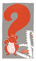 Squirrel with question mark tail looking at peanut in bear trap ExclusiveImage