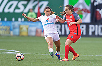 Portland, OR - Wednesday June 28, 2017: Meleana Shim, Lo'eau Labonta during a regular season National Women's Soccer League (NWSL) match between the Portland Thorns FC and FC Kansas City at Providence Park.