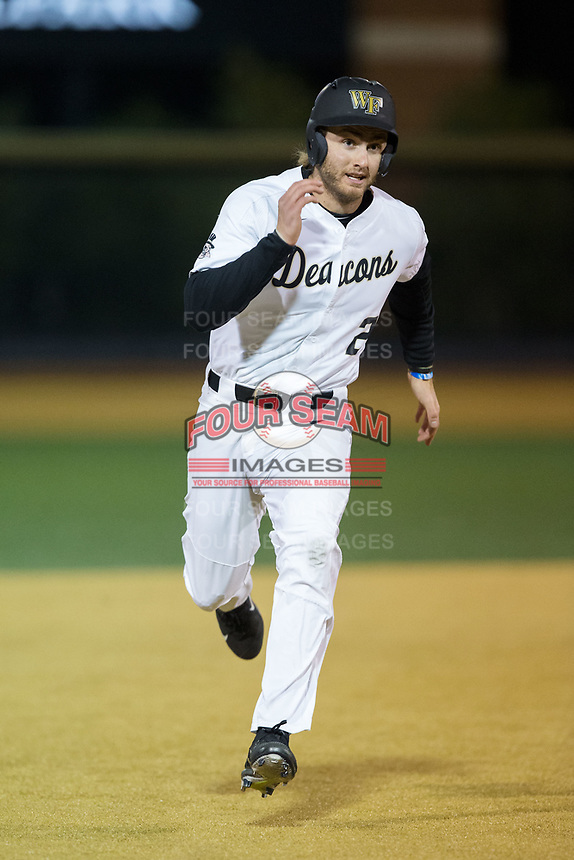 Johnny Aiello (2) of the Wake Forest Demon Deacons hustles towards third base against the Kent State Golden Flashes in game two of a double-header at David F. Couch Ballpark on March 4, 2017 in Winston-Salem, North Carolina.  The Demon Deacons defeated the Golden Flashes 5-0.  (Brian Westerholt/Four Seam Images)