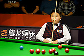 30th January 2019, Berlin, Germany;  Zhou Yuelong, snooker player from China, watches the snooker table at the German Masters 2019 against Mark Williams from Wales.