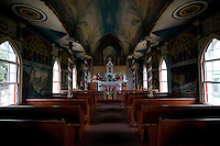 Interior of St. Benedict Roman Catholic Painted Church in Captain Cook, Hawaii