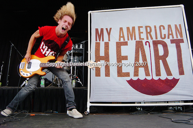 Daniel Berman for Alternative Press Magazine..Dustin Hook of My American Heart performs at the Vans Warped Tour Saturday August 18 at the Gorge Amphitheatre in George, WA...George, WA