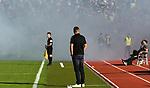 10.08.2019, Donaustadion, Ulm, GER, DFB Pokal, SSV Ulm 1846 Fussball vs 1. FC Heidenheim, <br /> DFL REGULATIONS PROHIBIT ANY USE OF PHOTOGRAPHS AS IMAGE SEQUENCES AND/OR QUASI-VIDEO, <br /> im Bild Holger Bachthaler (Ulm) blickt in Richtung der Rauchschwaden im Ulmer Fanblock<br /> <br /> Foto © nordphoto / Hafner