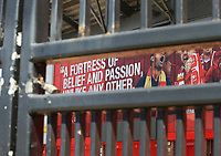 May 4th 2020, Liverpool, United Kingdom;  Anfield stadium during the suspension of the Premier League due to the Covid-19 virus pandemic;  padlocked gates outside the entrance to the Kop