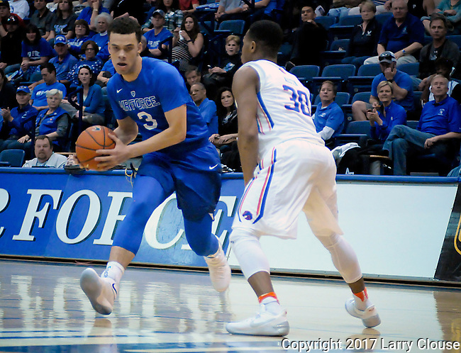 March 4, 2017:  Air Force guard, Sid Tomes #3, looks to make a pass during the NCAA basketball game between the Boise State Broncos and the Air Force Academy Falcons, Clune Arena, U.S. Air Force Academy, Colorado Springs, Colorado.  Boise State defeats Air Force 98-70.