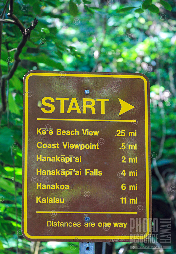 "The ""Start"" sign at the beginning of the Kalalau Trail, northern Kaua'i."