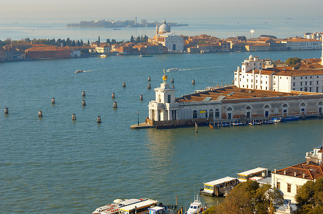 Arial View of Saint Mark's Canal looking towards Guideca - Venice Italy.