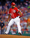 28 August 2010: Washington Nationals starting pitcher Livan Hernandez on the mound against the St. Louis Cardinals at Nationals Park in Washington, DC. The Nationals defeated the Cards 14-5 to take the third game of their 4-game series. Mandatory Credit: Ed Wolfstein Photo