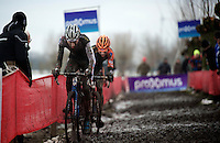Mathieu Vanderpoel (NLD/BKCP-Powerplus) &amp; Wout Van Aert (BEL/Vastgoedservice-Golden Palace) fighting it out between them in a sea of sticky mud<br /> <br /> Azencross Loenhout 2014