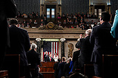 FEBRUARY 5, 2019 - WASHINGTON, DC: President Donald Trump delivered the State of the Union address, with Vice President Mike Pence and Speaker of the House Nancy Pelosi, at the Capitol in Washington, DC on February 5, 2019. <br /> Credit: Doug Mills / Pool, via CNP