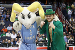 11 March 2016: UNC and Notre Dame mascots pose before the game. The University of North Carolina Tar Heels played the University of Notre Dame Fighting Irish at the Verizon Center in Washington, DC in the Atlantic Coast Conference Men's Basketball Tournament semifinal and a 2015-16 NCAA Division I Men's Basketball game. UNC won the game 78-47.