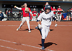 March 23, 2012:   Nevada Wolf Pack's Chelsea Barilli is thrown out by Fresno State Bulldogs pitcher Michelle Moses during their NCAA softball game played at Christina M. Hixson Softball Park on Friday in Reno, Nevada.