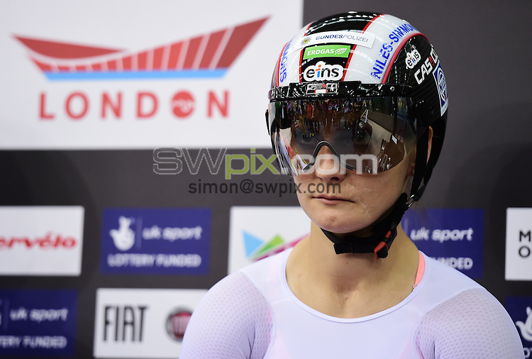 Picture by Alex Broadway/SWpix.com - 06/03/2016 - Cycling - 2016 UCI Track Cycling World Championships, Day 5 - Lee Valley VeloPark, London, England - Kristina Vogel of Germany looks on before competing in the Women's Sprint Semifinals.