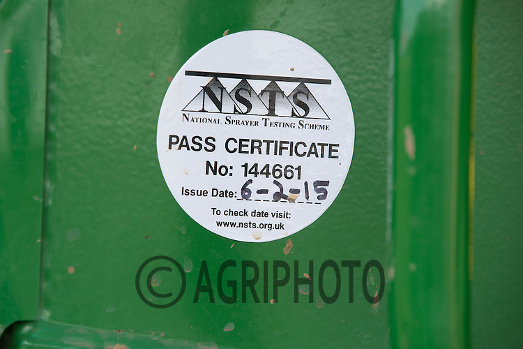 Sprayer Pass Certificate <br /> Picture Tim Scrivener 07850 303986