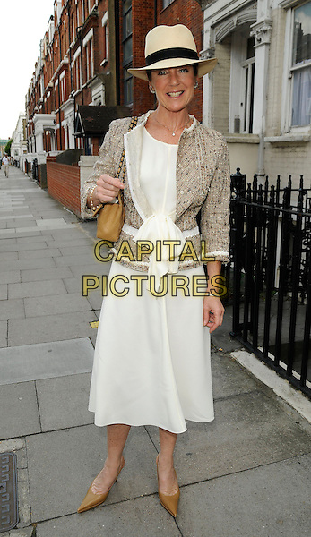 LORRAINE CHASE .At the Aegon Queen's Club Tennis Championship Final, Queen's Club, Palliser Road, London, England, UK, June 14th 2009..full length hat trilby white dress beige shoes jacket brown tan pointy panama tweed wool bow .CAP/CAN.©Can Nguyen/Capital Pictures