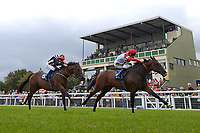 Winner of The Shadwell Stud Racing Excellence Apprentice Handicap Fortune and Glory ridden by William Carver and trained by Joseph Tuite during the Bathwick Tyres & EBF Race Day at Salisbury Racecourse on 6th September 2018