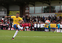 Richarlison of Brazil hits his penalty during the International match between England U20 and Brazil U20 at the Aggborough Stadium, Kidderminster, England on 4 September 2016. Photo by Andy Rowland / PRiME Media Images.