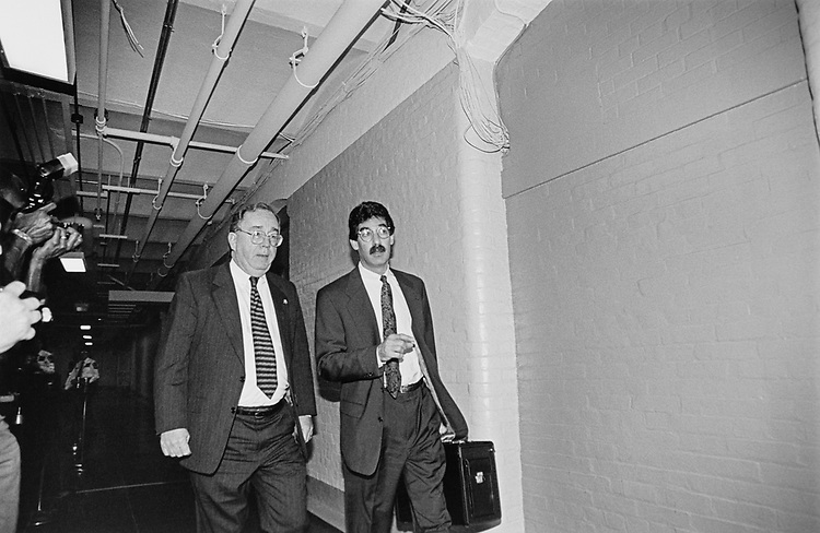Rep. Dave Hobson, R-Ohio., and Independent Counsel, James M. Cole en route to Ethics Committee, on Jan. 8, 1997. (Photo by Rebecca Roth/CQ Roll Call via Getty Images)