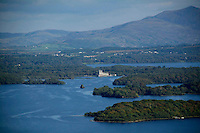 An aerial view of Ross castle, Innisfallen Island, Brown Island over Killarney.<br /> Picture by Don MacMonagle